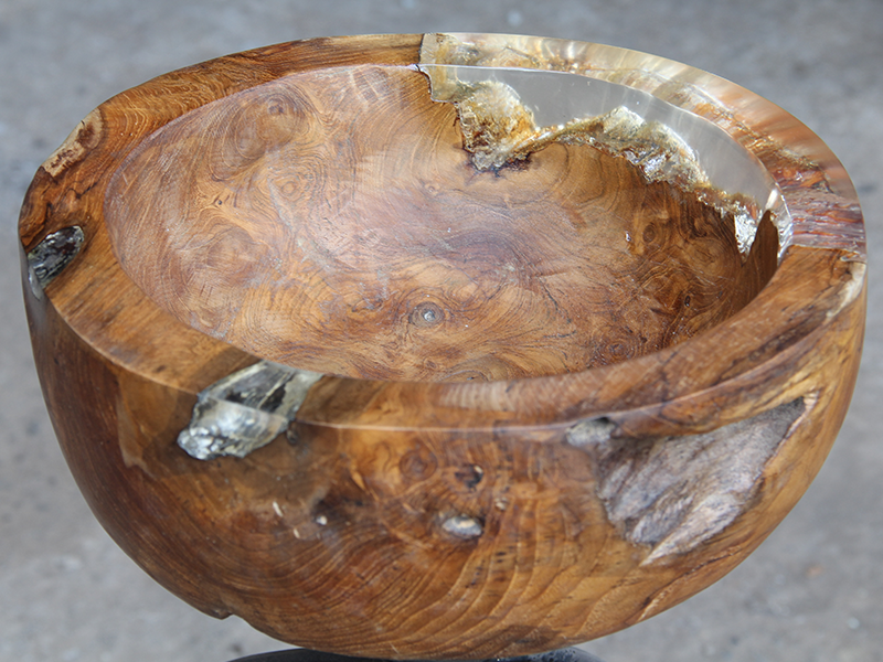 Wooden Bowl With Clear Resin